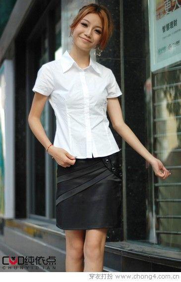 衬衫+短裙 打造OL优雅气质